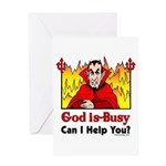 God is Busy Greeting Card