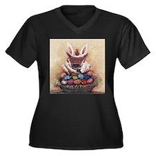 Easter Hog Women's Plus Size V-Neck Dark T-Shirt