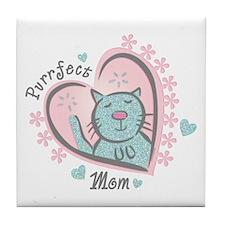 Purrfect Mom Tile Coaster