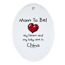 Mom to be China adoption Oval Ornament