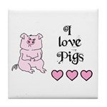 I LOVE PIGS Tile Coaster