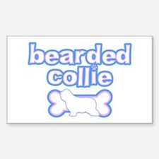 Powderpuff Bearded Collie Rectangle Decal