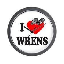 I HEART WRENS Wall Clock