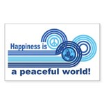 Happiness World Peace Rectangle Sticker