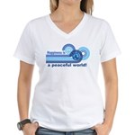 Happiness World Peace Women's V-Neck T-Shirt