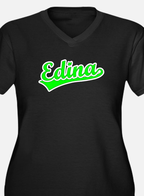 Retro Edina (Green) Women's Plus Size V-Neck Dark