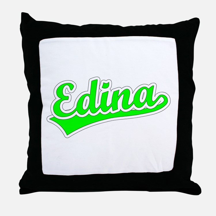 Retro Edina (Green) Throw Pillow