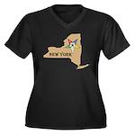 New York OES Women's Plus Size V-Neck Dark T-Shirt