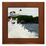 Maine lighthouse Framed Tiles