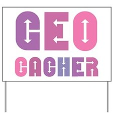 Geocacher Arrows Pinks Yard Sign