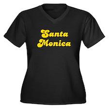 Retro Santa Monica (Gold) Women's Plus Size V-Neck