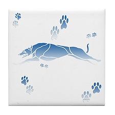 Running Grey (blue) Tile Coaster