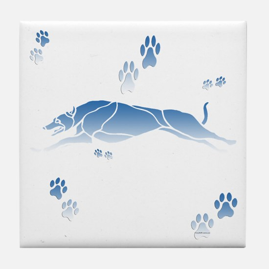 Running Grey (blue) Tile Coaster