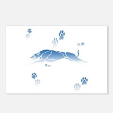 Running Grey (blue) Postcards (Package of 8)