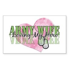 Army Wife Loving My Hero Rectangle Decal