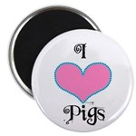 PIGS PINK HEART Magnet