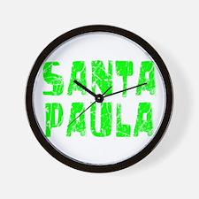 Santa Paula Faded (Green) Wall Clock