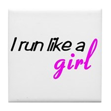 Cute Run like a girl Tile Coaster