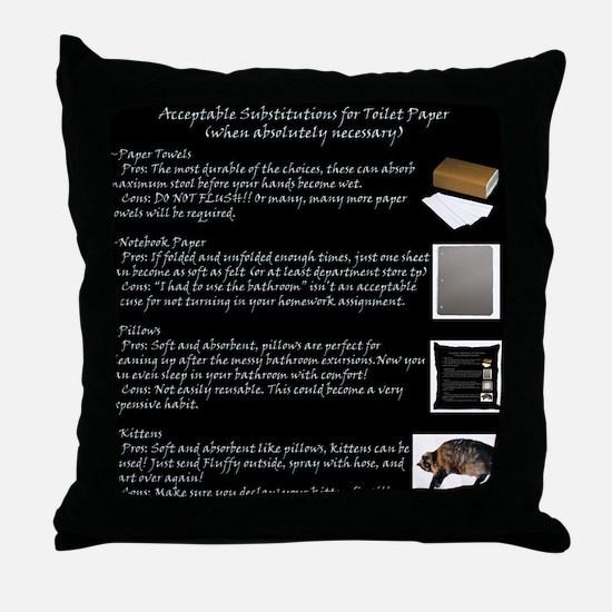 Toilet Paper Substitute Throw Pillow