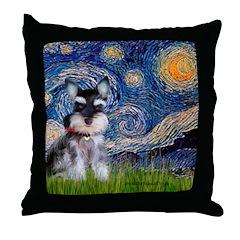 Starry / Schnauzer Throw Pillow