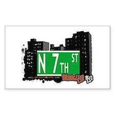 N 7th STREET, BROOKLYN, NYC Rectangle Decal