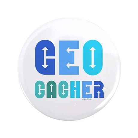 "Geocacher Arrows Blue 3.5"" Button (100 pack)"