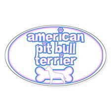 Powderpuff Pit Bull Oval Decal