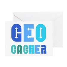 Geocacher Arrows Blue Greeting Card