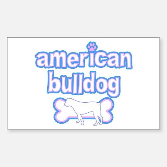 Powderpuff American Bulldog Rectangle Decal