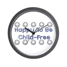 Happy To Be Child-Free Wall Clock