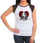 Basset Hound Heart Women's Cap Sleeve T-Shirt