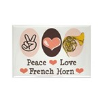 Peace Love French Horn Rectangle Magnet