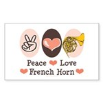 Peace Love French Horn Rectangle Sticker 50 pk)