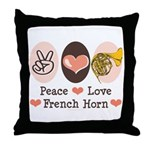 Peace Love French Horn Throw Pillow