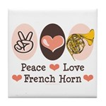 Peace Love French Horn Tile Coaster