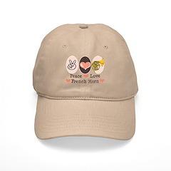 Peace Love French Horn Hornist Baseball Cap