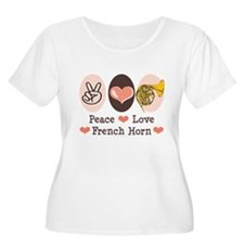 Peace Love French Horn Plus Size Scoop Neck Tshirt