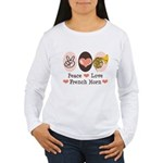 Peace Love French Horn Women's Long Sleeve T-Shirt