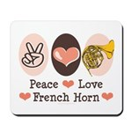 Peace Love French Horn Mousepad