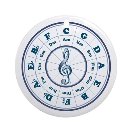 Blue Circle of Fifths Ornament (Round)
