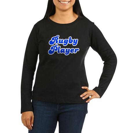 Retro Rugby Player (Blue) Women's Long Sleeve Dark