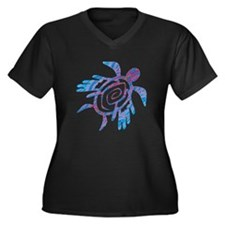 Winged Turtle Women's Plus Size V-Neck Dark T-Shir