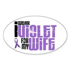 I Wear Violet For My Wife 6 Oval Decal
