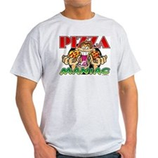 Pizza Maniac @ eShirtLabs.Com Ash Grey T-Shirt