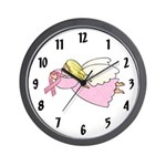Pink Ribbon Angel Wall Clock