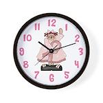 Pink Ribbon Girl Wall Clock