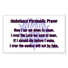 Ambulance Paramedic Prayer Rectangle Decal