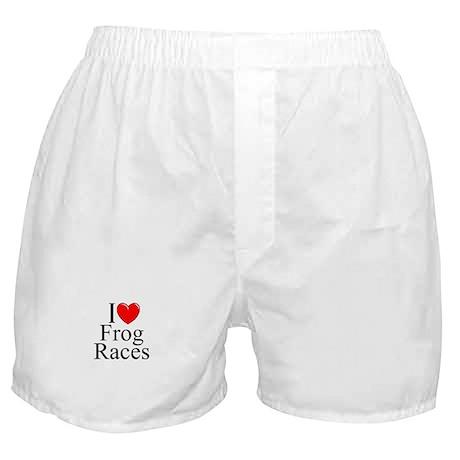 """I Love (Heart) Frog Races"" Boxer Shorts"