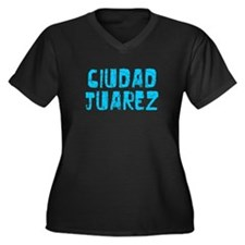 Ciudad Juarez Faded (Blue) Women's Plus Size V-Nec