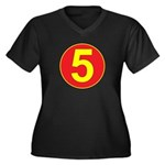 Mach 5 Women's Plus Size V-Neck Dark T-Shirt